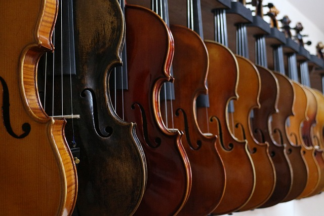 different sized violins needing strings